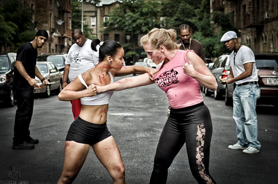 "MMA Trained Top Female Fighter. A Bully. She doesn't play fair. ""Whose House"" production still. Photo by George Freire."